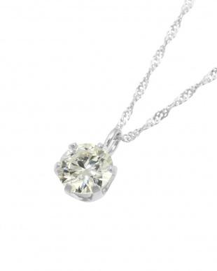 K18WG 天然ダイヤモンド0.3ct VVSクラス 6本爪ネックレス見る