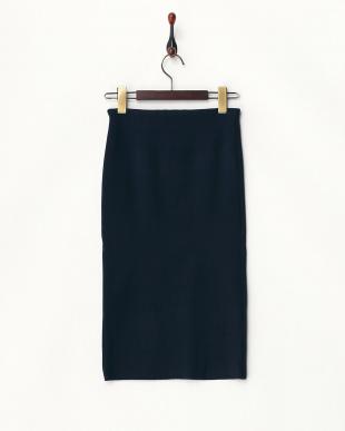 ネイビー リブタイトスカート見る