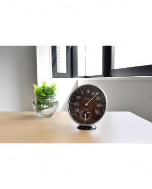 ダークウッド アナログ温湿度計見る