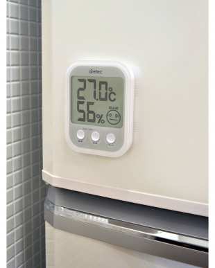 ホワイト デジタル温湿度計「オプシスプラス」見る