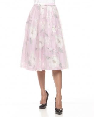 パープル オリジナルフラワー柄2WAYスカート見る