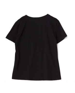 ブラック メッセージプリント貼り付けTシャツを見る