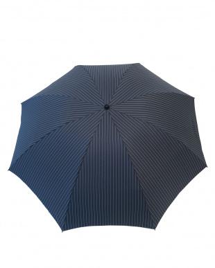 インディゴ×ストライプ 手動折り畳み傘見る