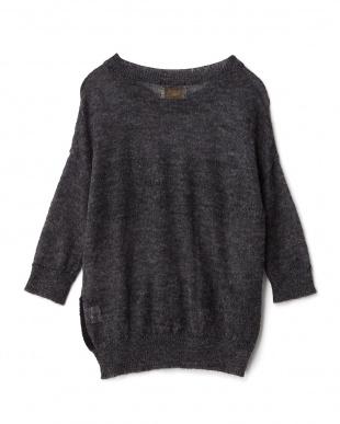 GRAY/BLACK ボーダー柄セーターを見る