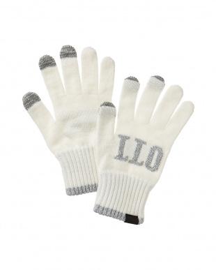 white ホワイト タッチパネル対応 HELLO手袋見る