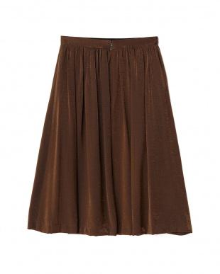 ブラウン シャイニーギャザースカート見る