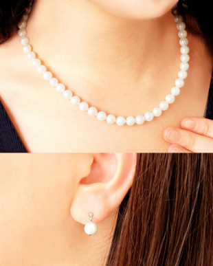 あこや本真珠 7~7.5mm 連ネックレス&ピアス 2点セット見る
