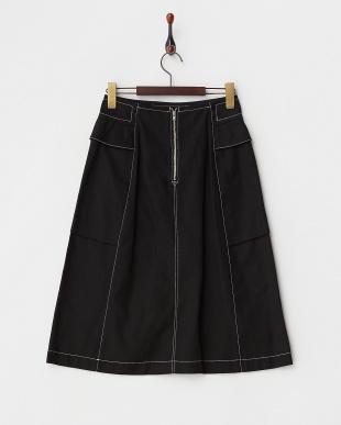 ブラック ポケット付きスカート見る