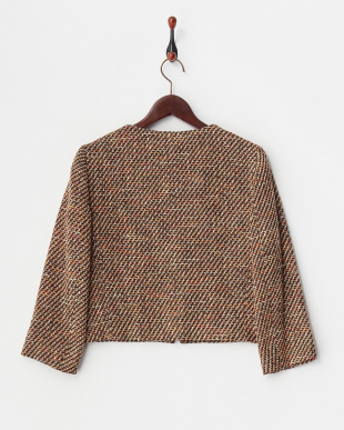 beige pattern DILUITO ツイードノーカラーZIPジャケットを見る