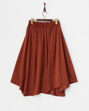 ブラウン ギャザーフレアスカート見る