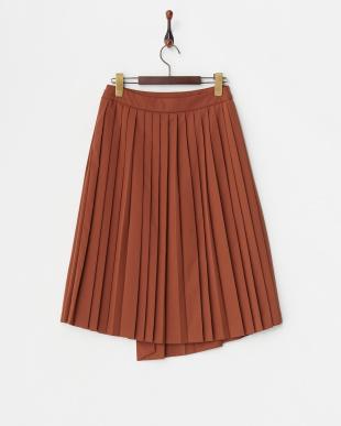 ブラウン デザインプリーツスカート見る