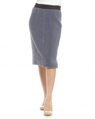 ライトブルー カーリーウールタイトスカート見る