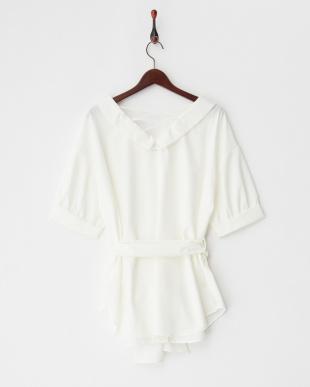 ホワイト ウエストリボンエリヌキシャツを見る