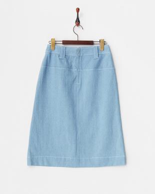 サックス ステッチデニムタイトスカート見る