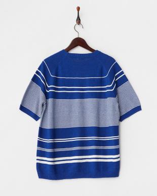 ブルー ランダムボーダーニットTシャツを見る