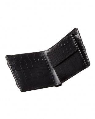 ブラック クロコダイル小銭入れ付き2ツ折り財布見る