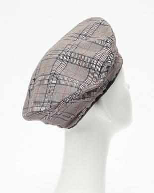 グレー×レッド スタンドタイプ フラットチェックベレー帽を見る