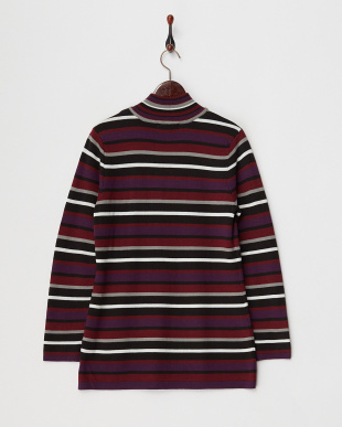 ブラック 刺繍入りジップアップセーター見る