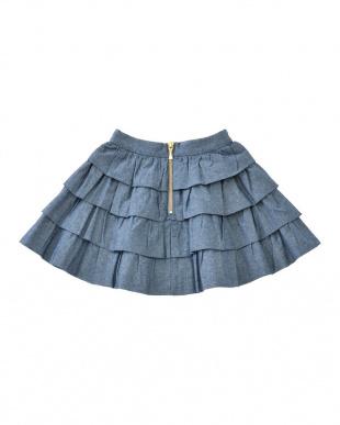 紺 コン シャンブレーティアードスカート|KIDSを見る