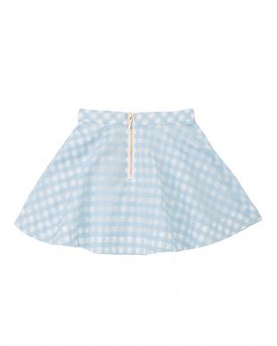 サックス チェック柄フレアスカート|KIDSを見る