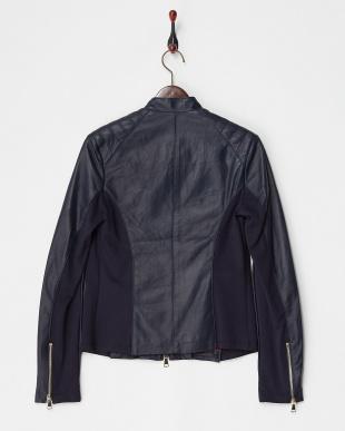 ブルー スタンド衿 イタリアンフィットラムジャケットを見る