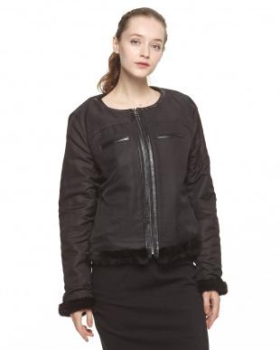 ブラック ミンク&シルク リバーシブルノーカラージャケットを見る