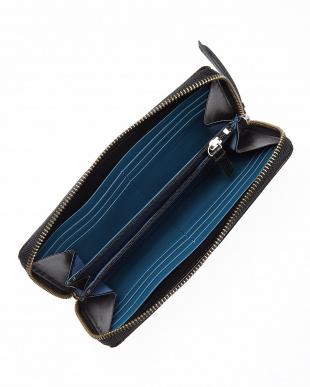 ブラック×ブルー 型押しコンビ ラウンドファスナー長財布を見る