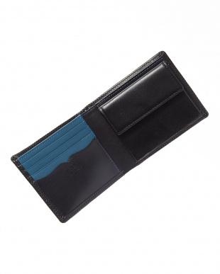 ブラック×ブルー 型押しコンビ 二つ折り札入れを見る