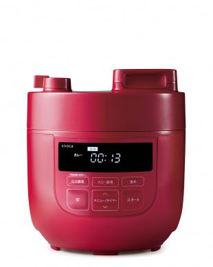 レッド siroca 電気圧力鍋(スロー調理機能付き)見る