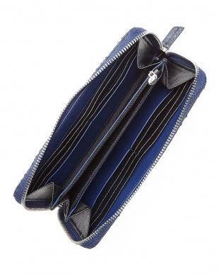 ブルー ダイヤモンドパイソンラウンドファスナー長財布見る