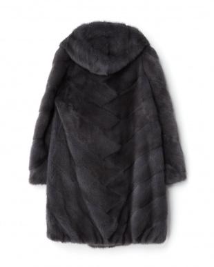 グレー フード付きミンクコート見る