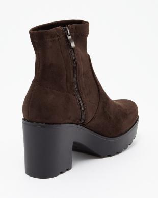 ブラウン 厚底スエード調ブーツ見る