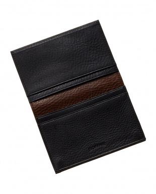 ブラック×チョコ イタリアンレザー 配色カードケース見る