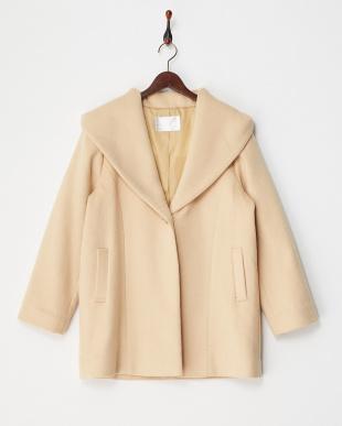 ベージュ ビッグ衿フーデッドコートを見る