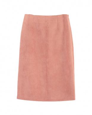 ピンク フェイクスエードタイトスカート見る