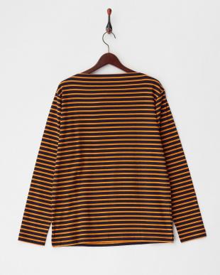 ネイビー/オレンジ サーフニットボートネックTシャツ|MEN見る