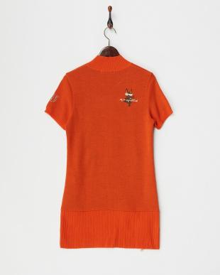 オレンジ 裾ファスナー 半袖セーター見る