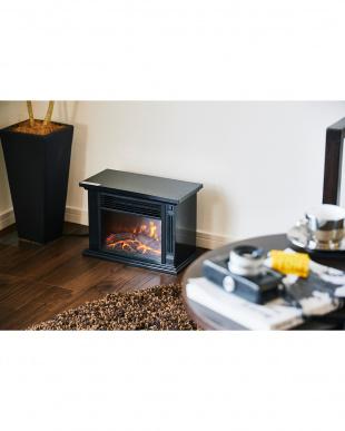 ブラック 暖炉型即暖セラミックファンヒーター コンパクト見る