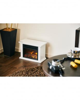 ホワイト 暖炉型即暖セラミックファンヒーター コンパクト見る