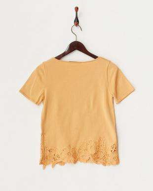 オレンジ フラワー刺繍半袖ニットプルオーバー見る