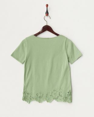 グリーン フラワー刺繍半袖ニットプルオーバー見る