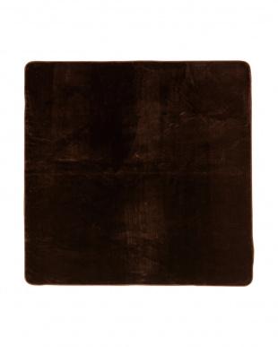 ブラウン 洗えるミンクタッチラグ 185×185cm見る