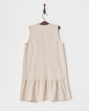 ライトピンク カットソー裾フリルロングジレ(140以上)見る