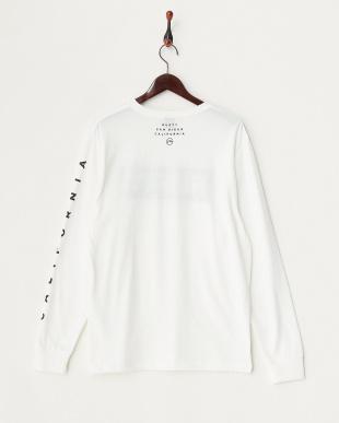 ホワイト ラメ混プリント 長袖Tシャツ見る