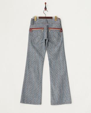 1900 ネイビー バックジップポケット グレンチェック裾フレアパンツ WOMEN見る