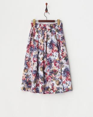 オフホワイト グログランJQ風花柄スカート見る