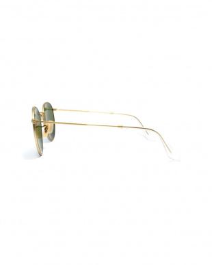 ゴールド×ブルーミラー(偏光) ROUND METAL フラットレンズサングラス見る
