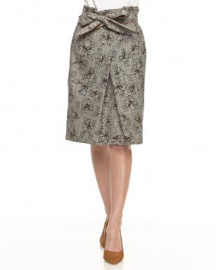 ブラウン グレンチェック花柄フロッキープリントタイトスカート見る