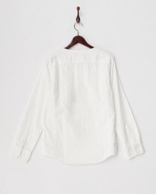 9000 ホワイト ヘリンボーンノーカラーシャツ見る
