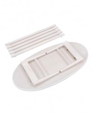 ホワイト オーバル 折れ脚テーブル 100×50×33.5cm見る